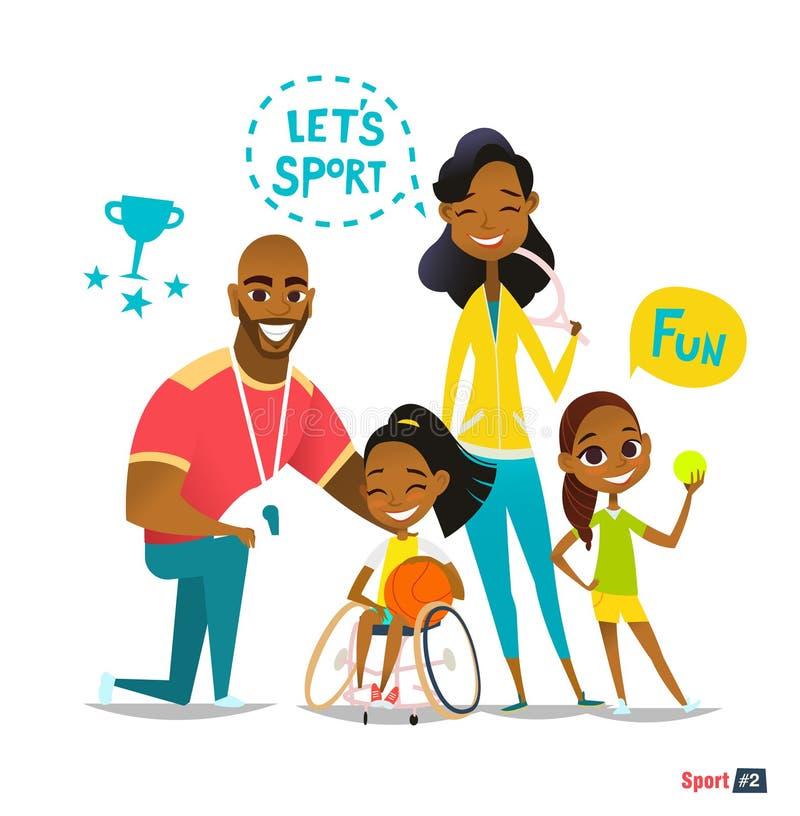炫耀家庭画象 在打球的轮椅的有残障的孩子和获得乐趣 库存例证