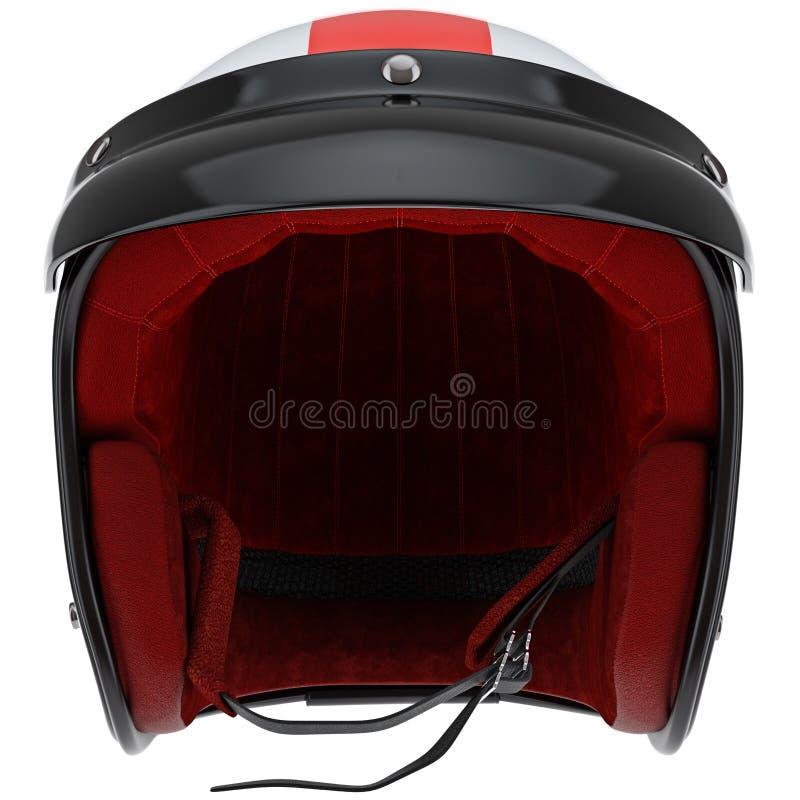 炫耀摩托车盔甲有遮阳正面图 向量例证