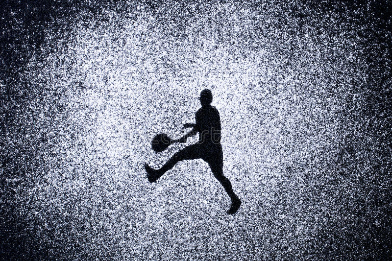 炫耀概念,人形状行动的由粉末 一部分的tenni 图库摄影