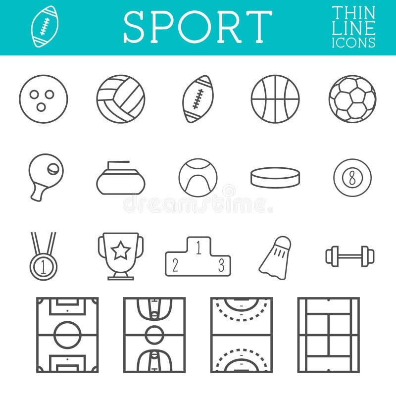 炫耀概述象,时髦稀薄的线设计,在白色背景的孤立 足球,齐射球,篮球,曲棍球和 向量例证