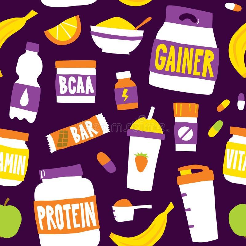 炫耀食物营养无缝的传染媒介样式背景紫色 皇族释放例证
