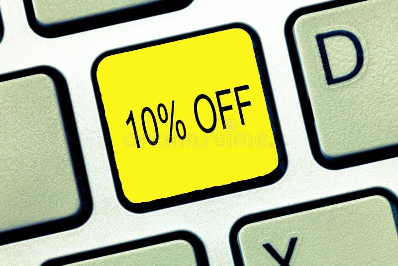 炫耀10的文字笔记 百分之十企业照片陈列的折扣在一般价格促进销售清除的 库存图片