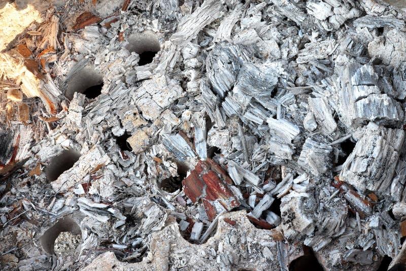 炭渣,从木头的灰色灰从壁炉,从烤箱背景纹理的灰色灰 免版税库存图片