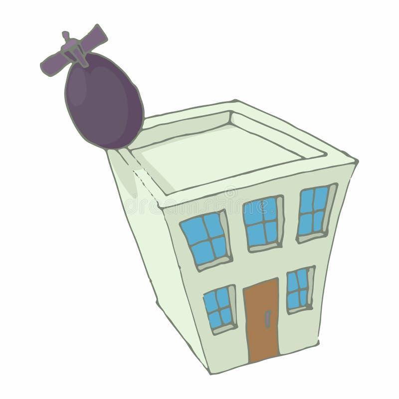 炸弹击中了家庭象,动画片样式 向量例证