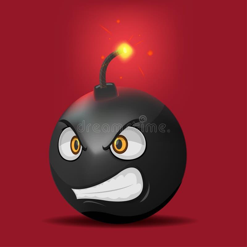 炸弹动画片愤怒面孔情感传染媒介 向量例证