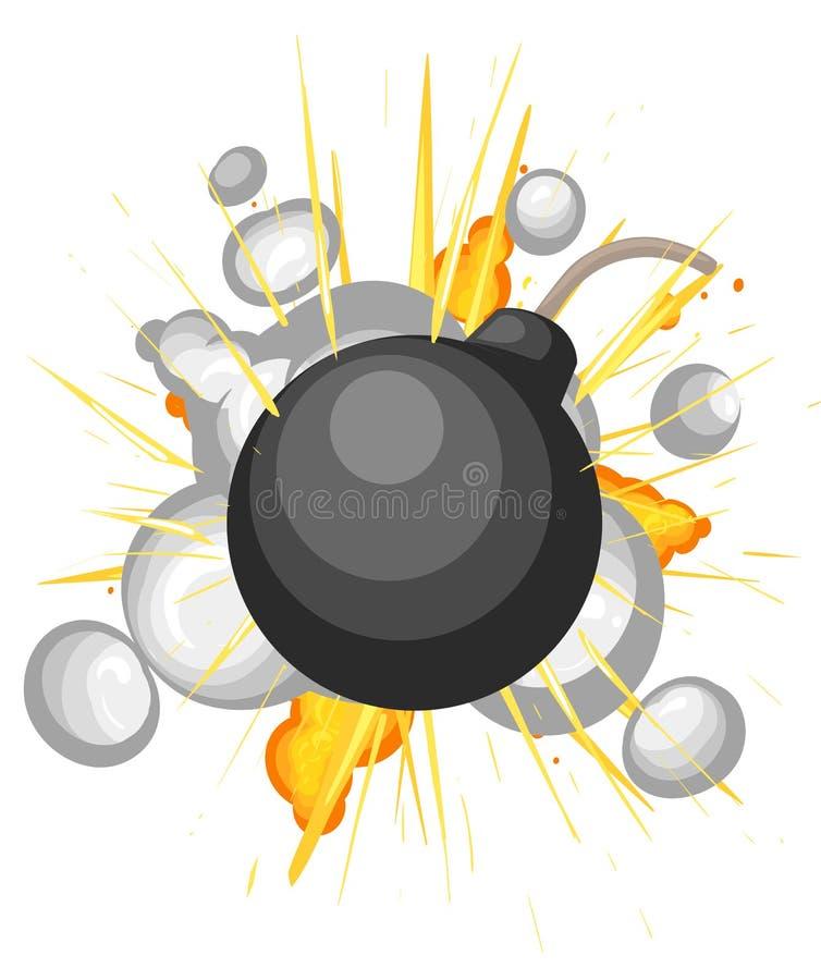 炸弹爆炸动画片被隔绝的样式背景 向量例证