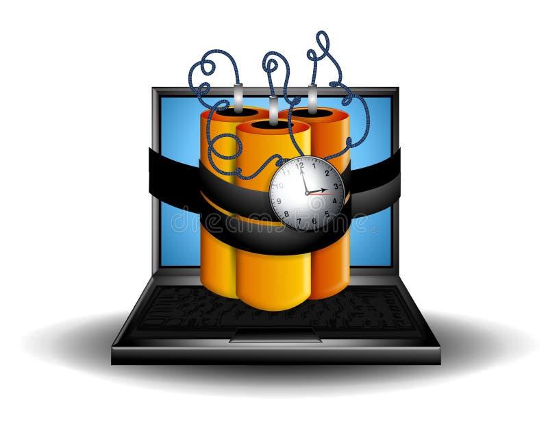 炸弹计算机膝上型计算机时间 库存例证