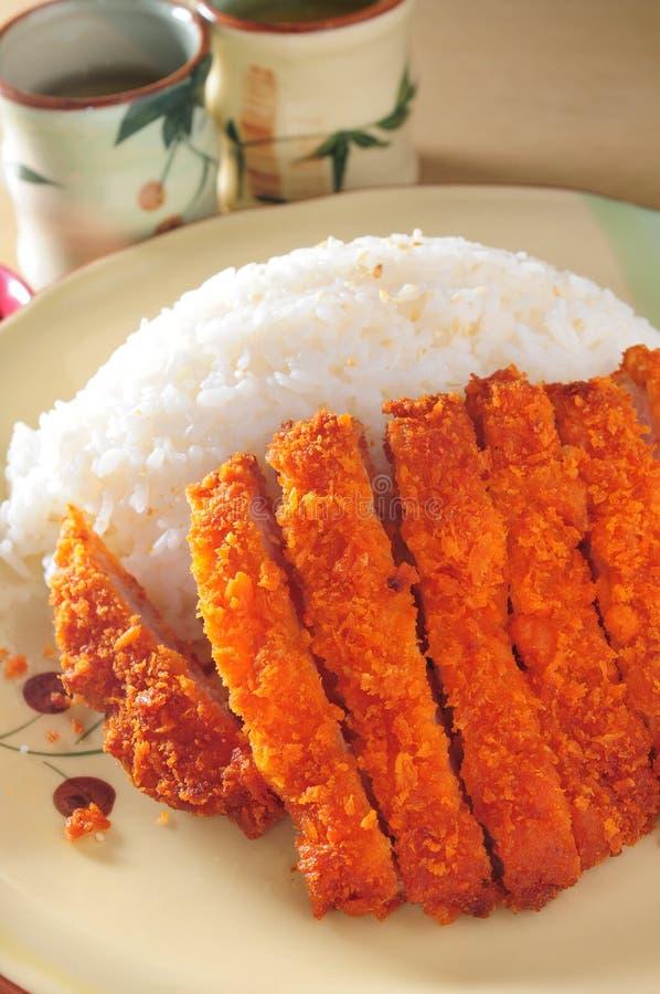炸肉排猪肉和米 免版税图库摄影