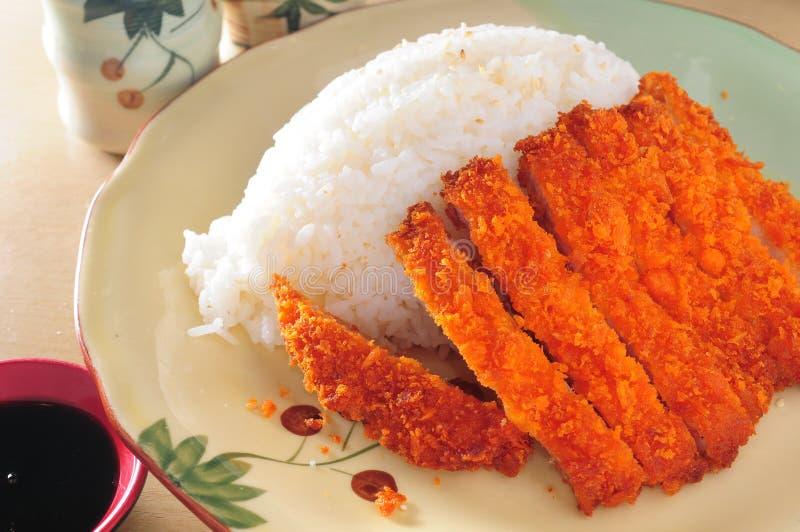 炸肉排猪肉米 免版税库存照片