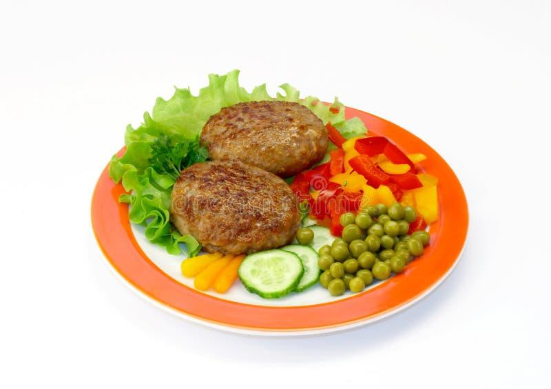 炸肉排蔬菜 库存照片