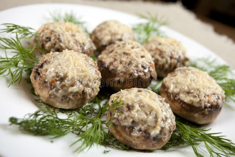 炸肉排蘑菇 免版税库存照片