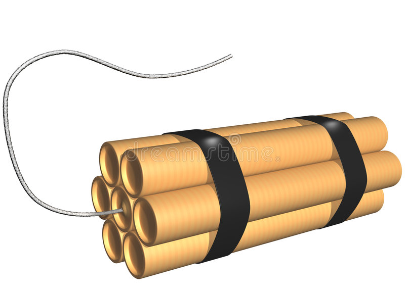 炸药保险丝查出的棍子 库存例证