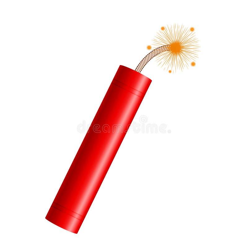 炸药在白色背景、红色棍子有灼烧的保险丝的和爆炸定时器黏附隔绝 现实动画片样式传染媒介 库存例证
