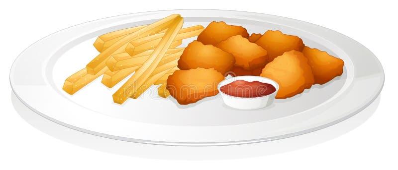 炸薯条、炸肉排和调味汁 向量例证