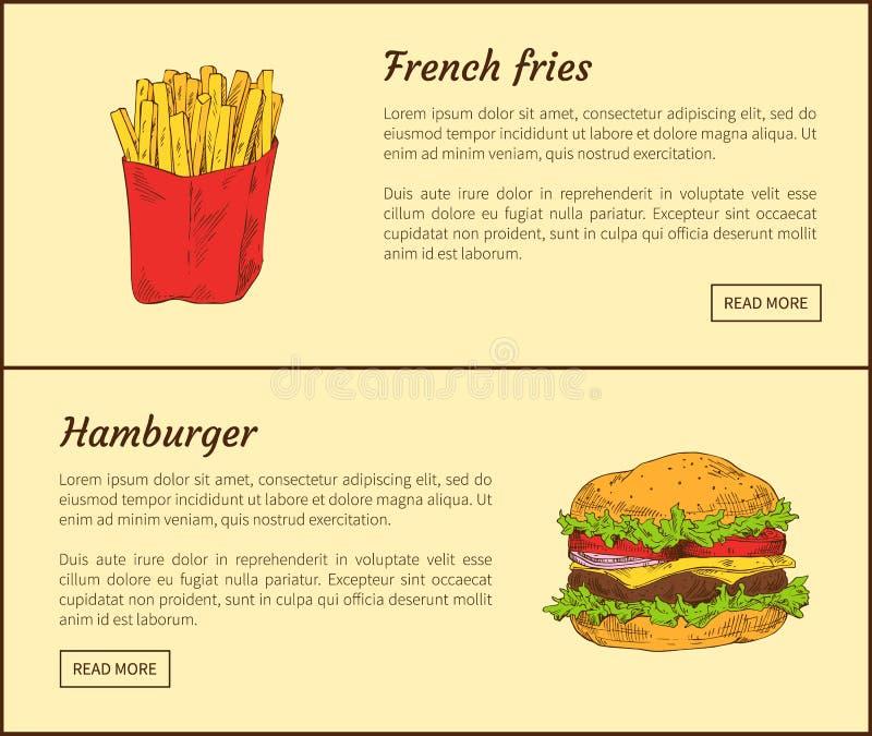 炸薯条和汉堡包传染媒介例证 皇族释放例证