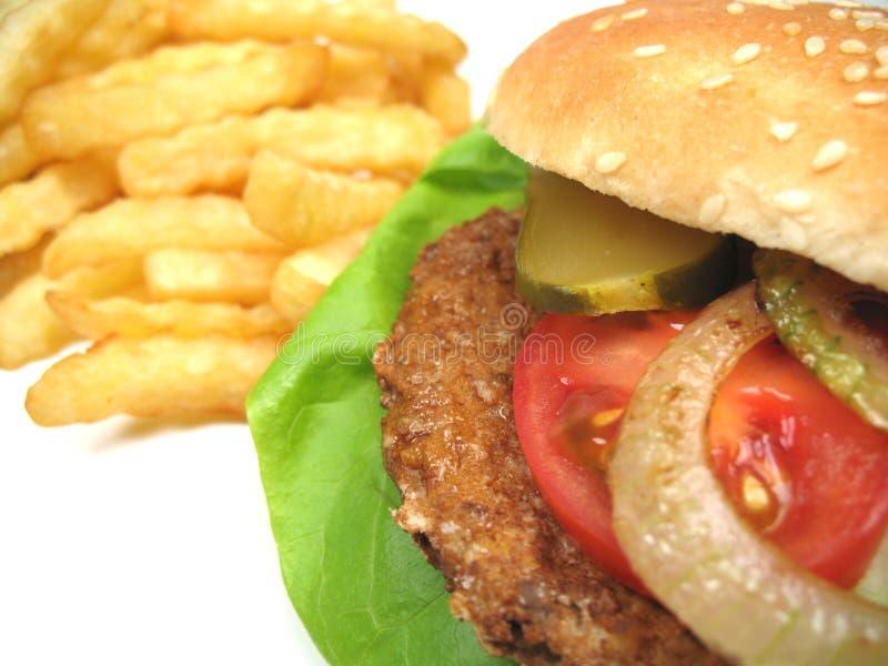 炸薯条汉堡包 免版税库存照片