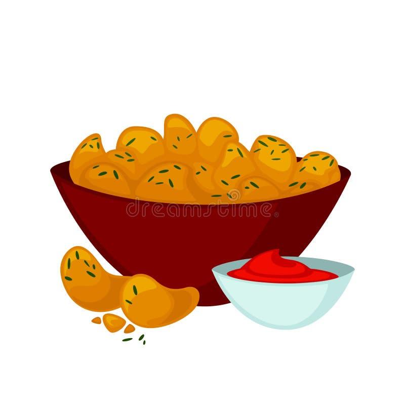 炸鸡矿块用调味汁 向量例证