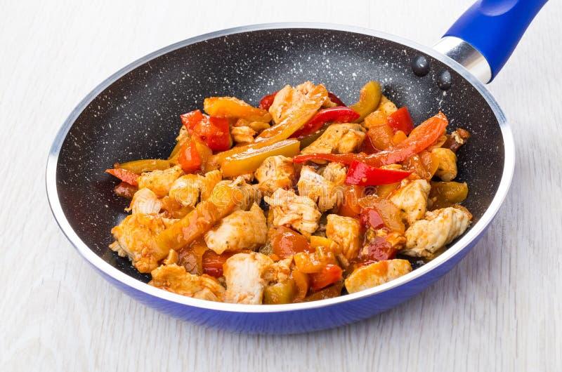 炸鸡肉用在蓝色煎锅的甜椒 库存图片