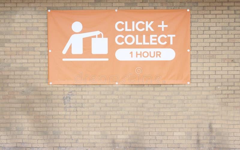 点击并且收集标志网上购买取得容易在商店商店购物中心大型商场减少时间和努力 免版税库存图片