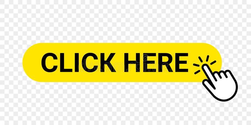 点击这里传染媒介网按钮 被隔绝的网站购买或登记与手手指点击的游标的黄色酒吧象 皇族释放例证