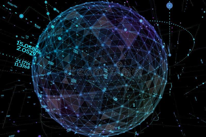 点和曲线修建了球形wireframe,技术感觉摘要例证 全球网络 向量例证