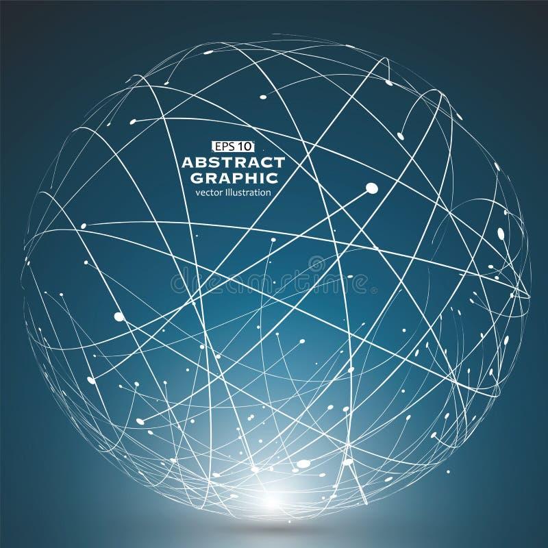 点和曲线修建了球形wireframe,技术感觉摘要例证 向量例证