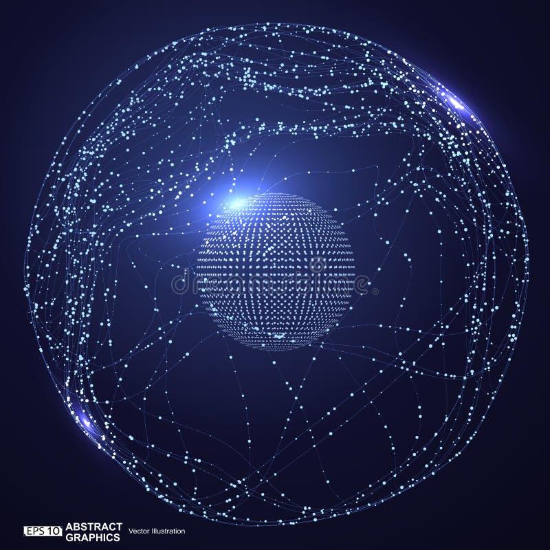 点和曲线修建了球形wireframe,技术感觉摘要例证 皇族释放例证