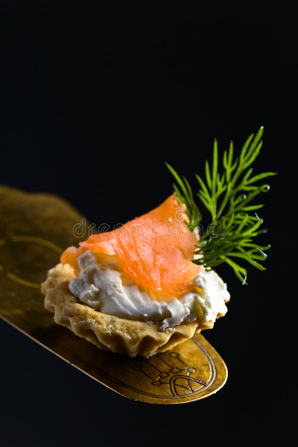 点心用熏制鲑鱼,乳脂干酪和莳萝 免版税库存照片