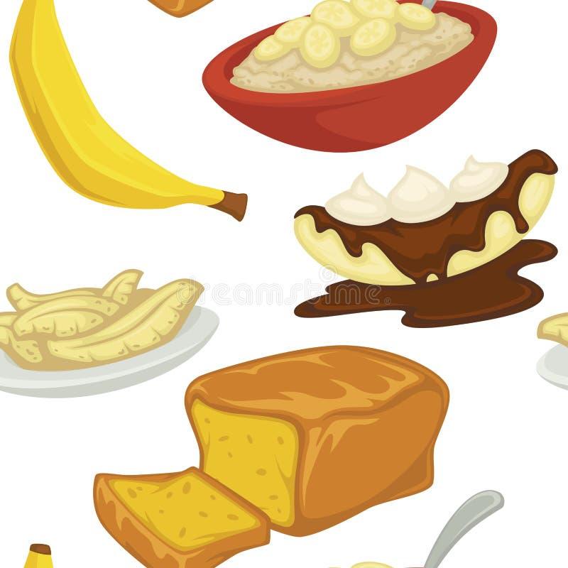 点心类型、香蕉与果皮和面包面包店无缝的样式传染媒介 向量例证