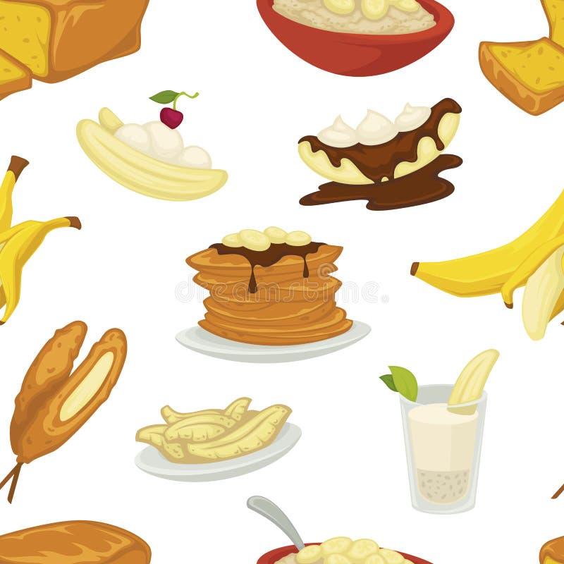 点心类型、香蕉与果皮和面包面包店无缝的样式传染媒介 库存例证