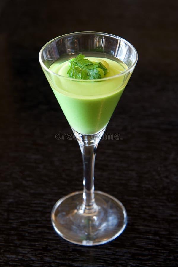 点心绿色奶油甜点 免版税库存照片