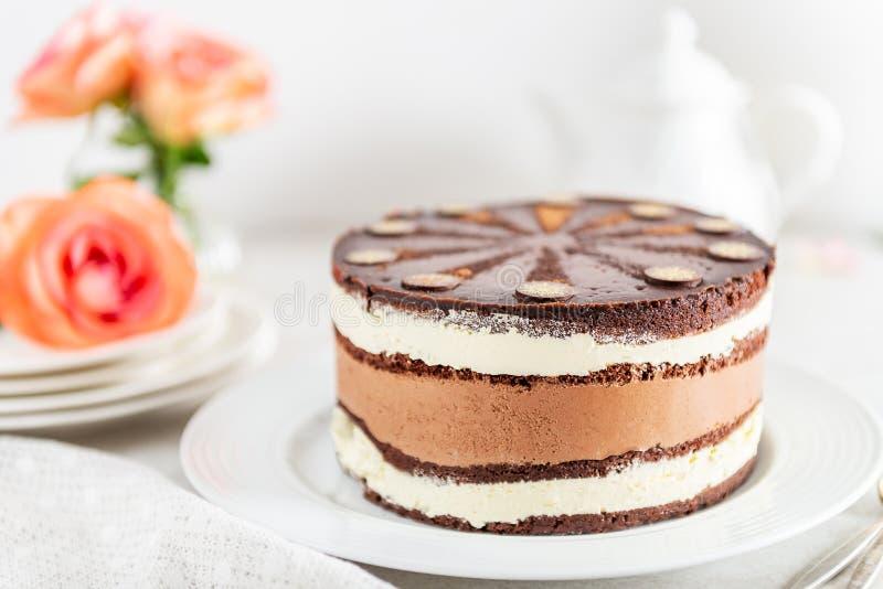点心菜单比利时巧克力层状特制的糕饼 库存图片