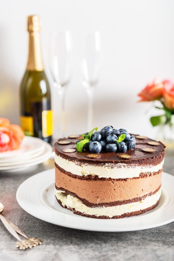 点心菜单比利时巧克力层状特制的糕饼 库存照片