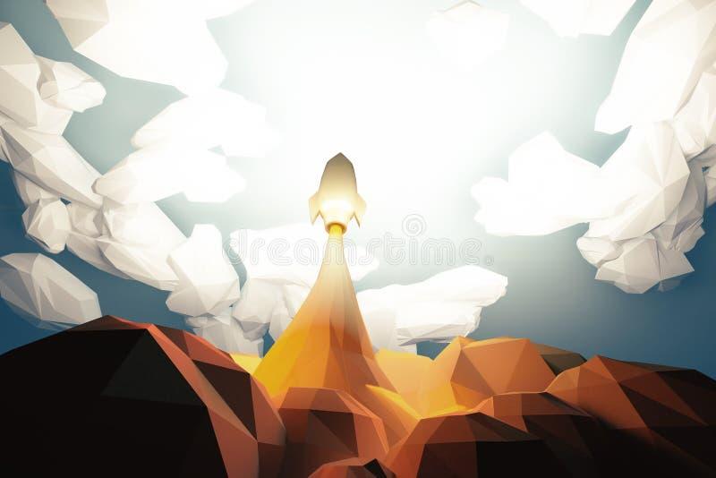 点火起飞从cosmodrom的太空火箭在云彩,多角形 皇族释放例证
