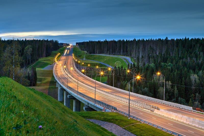 点燃一座路天桥的夜在森林 库存图片