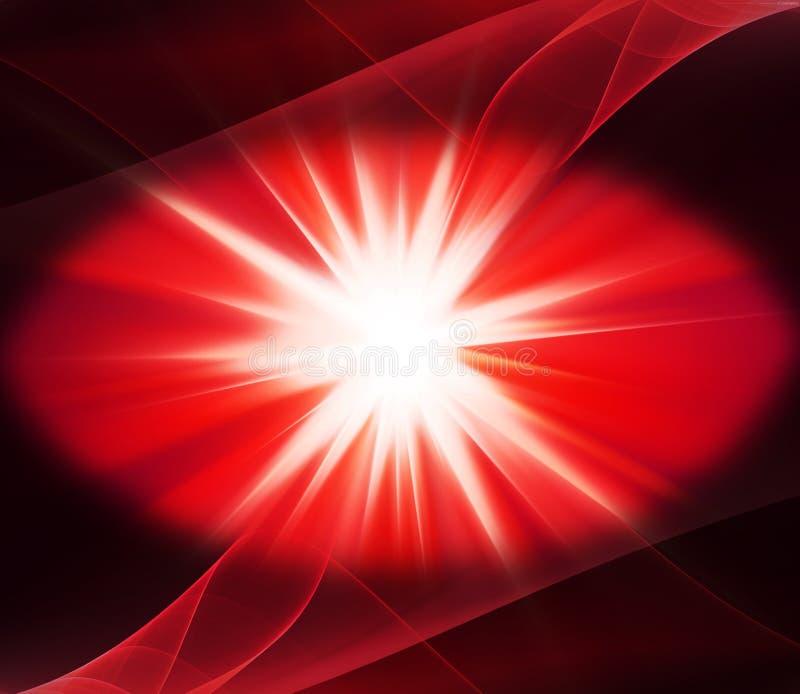 点燃红色能量背景爆炸引起的图象 向量例证