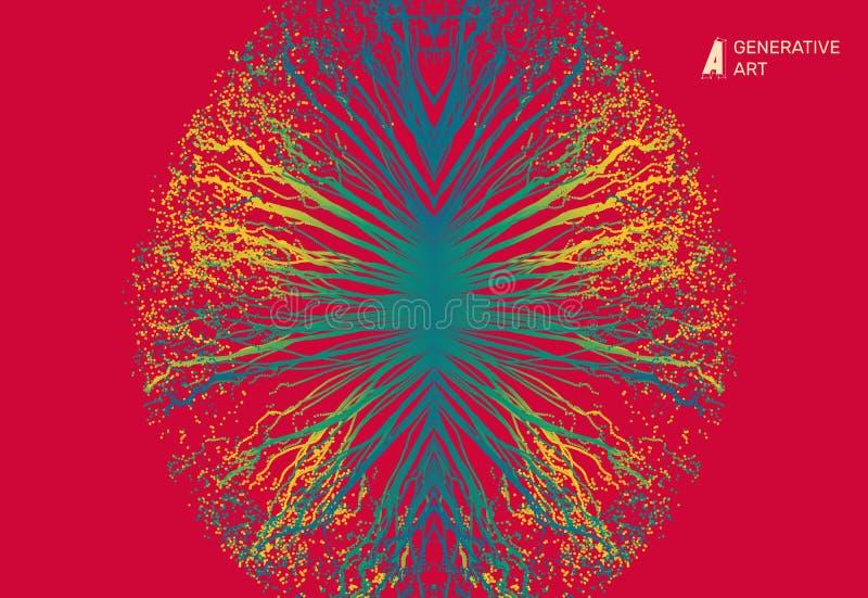 点爆炸 与动态散发的微粒的列阵 3D技术样式 抽象背景 向量例证