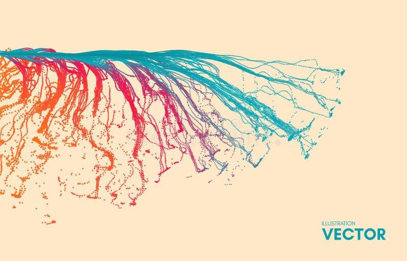 点爆炸 与动态散发的微粒的列阵 3D技术样式 抽象背景 皇族释放例证
