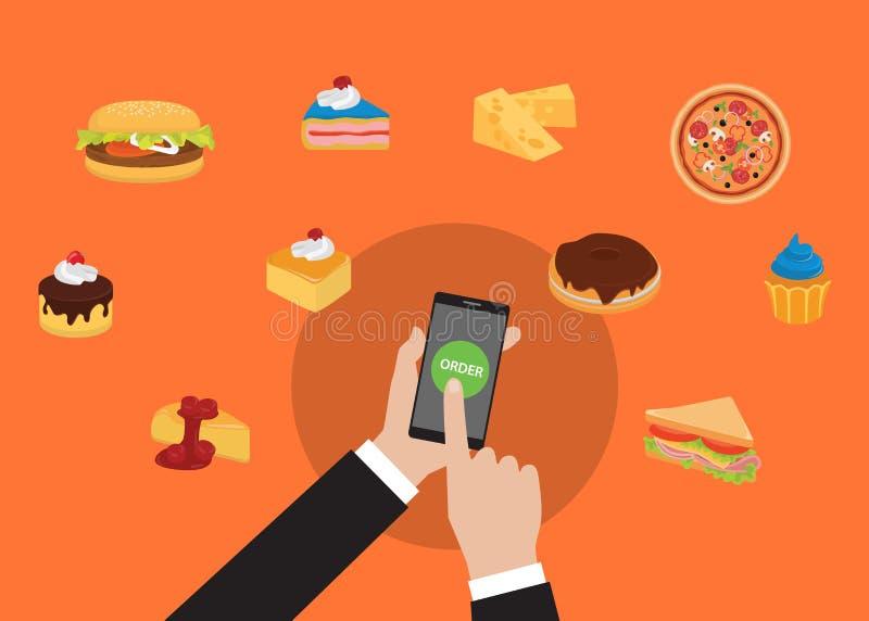 点网上食物使用与手藏品的smarpthone并且轻拍命令食物 库存例证