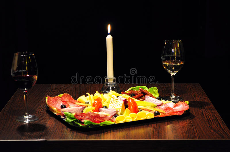 点蜡烛的正餐 免版税图库摄影