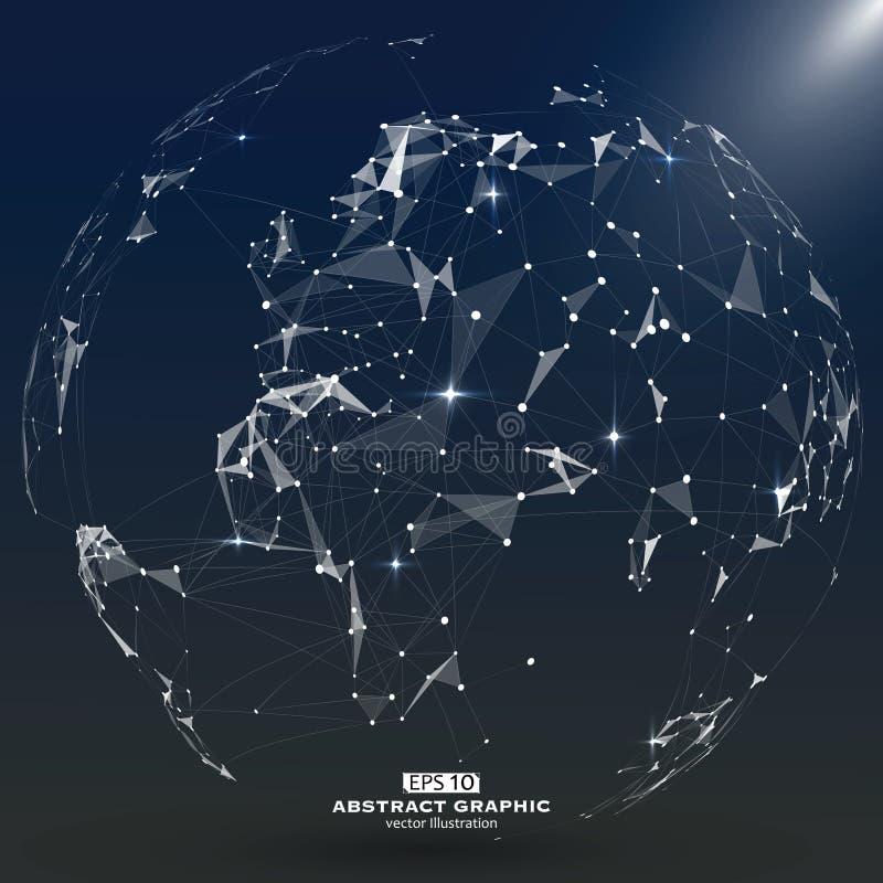 点,线和构成世界的一张抽象地图,感觉科学技术 向量例证