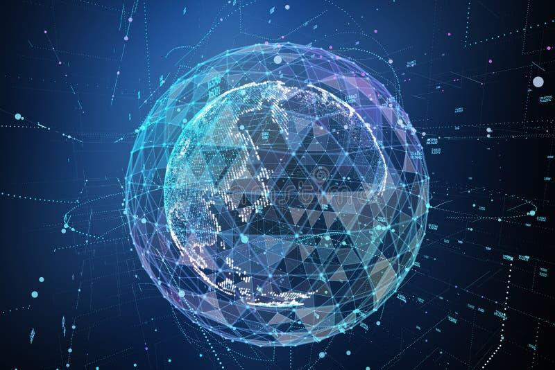 点,线,浮出水面组成由圆图表,全球网络连接,国际意思 3d例证 皇族释放例证
