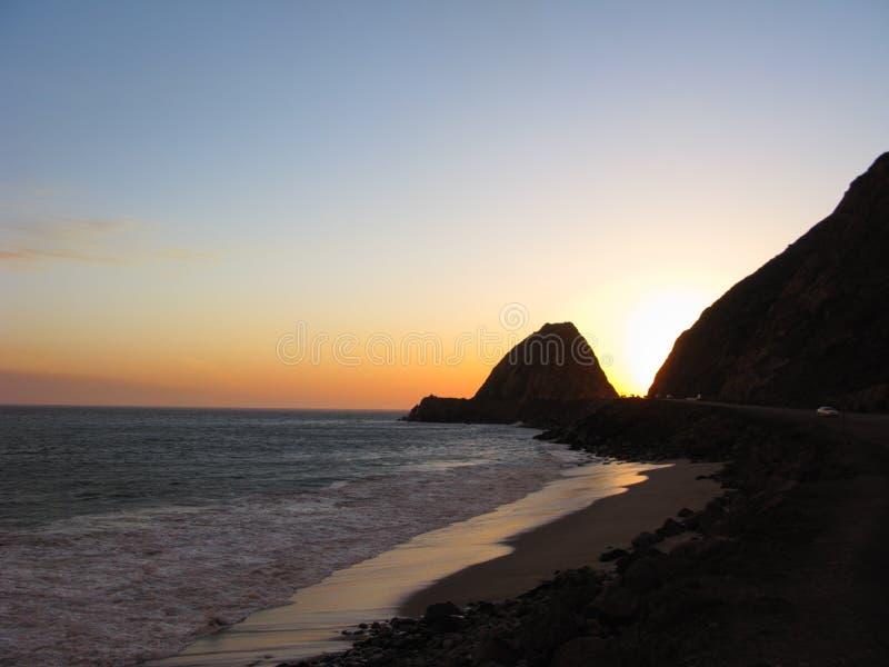 点Mugu在晚上,加州 免版税库存图片