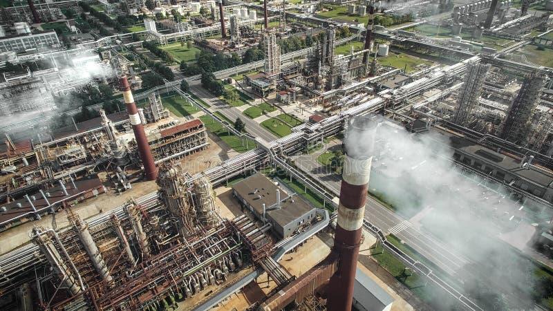 炼油厂植物鸟瞰图  库存图片