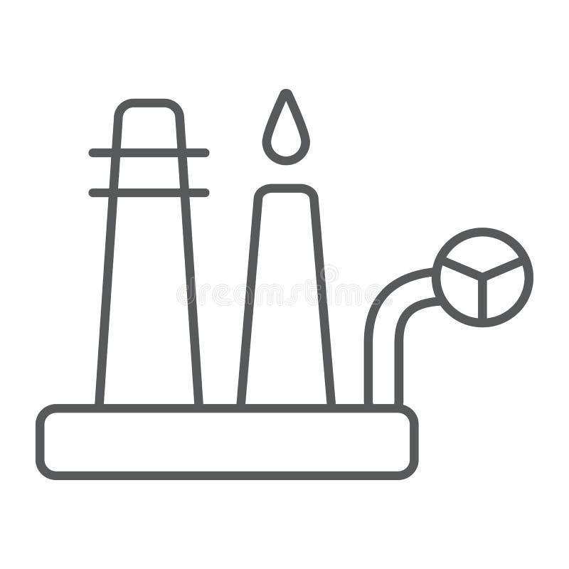 炼油厂稀薄的线象,工业和植物,工厂标志,向量图形,在白色背景的一个线性样式 向量例证