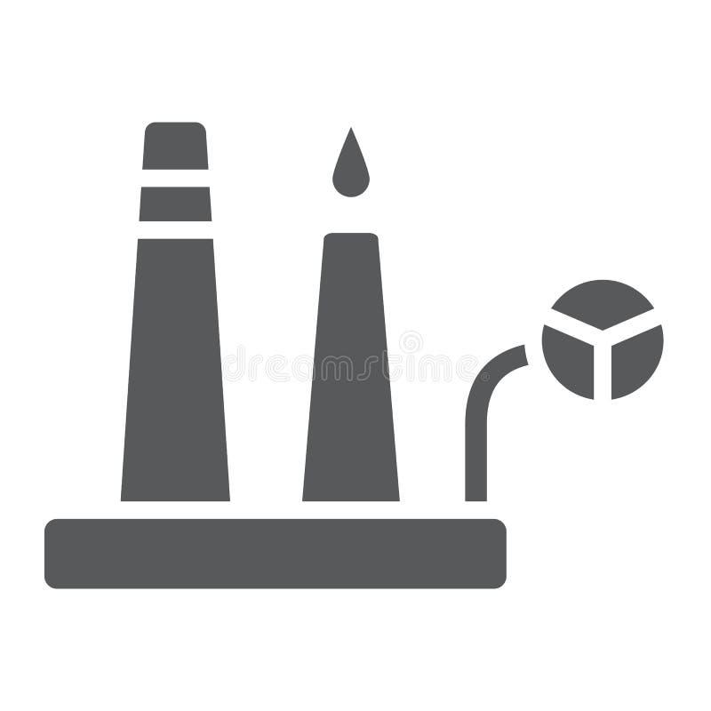 炼油厂纵的沟纹象,工业和植物,工厂标志,向量图形,在白色背景的一个坚实样式 库存例证