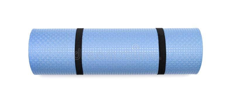 锻炼的蓝色瑜伽席子 免版税库存图片