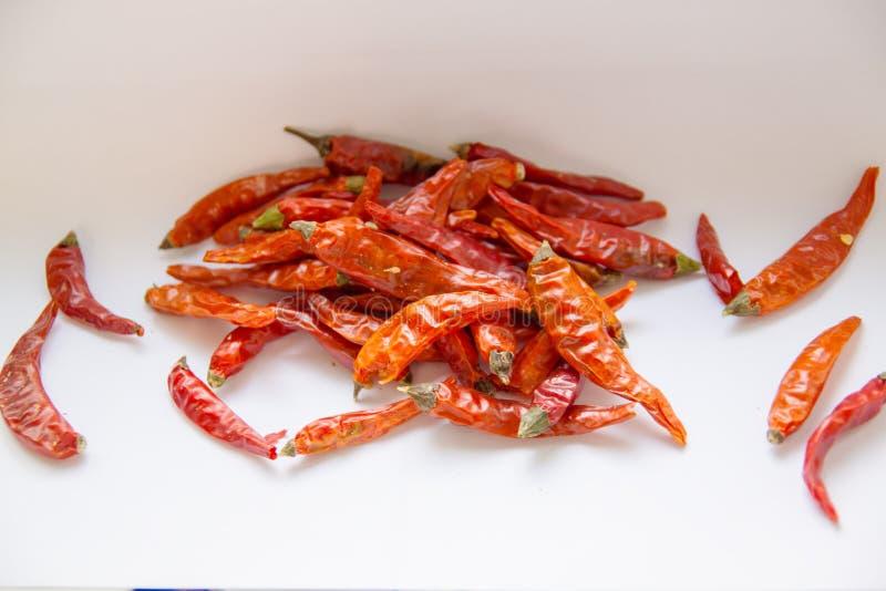 炽热冷颤的胡椒背景,与'热'的词的干胡椒 免版税库存照片