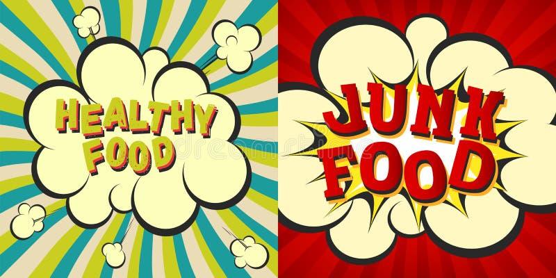破烂物和健康食物减速火箭的样式图象 与hypno的可笑的动画片爆炸发出光线背景 饮食和nu的传染媒介例证 向量例证