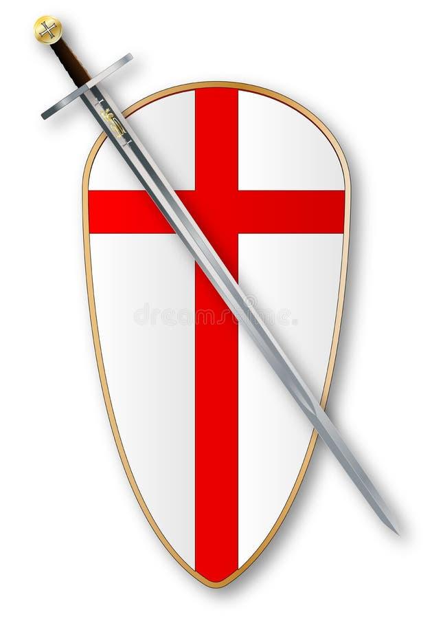 烈士保护和剑 向量例证